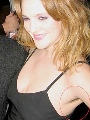 drew barrymore armpit hair